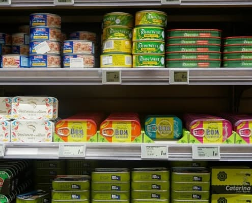 food tins on shelf