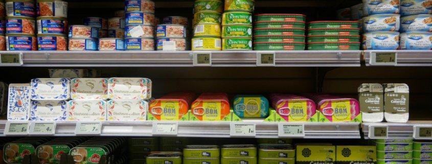 food tins on shelf