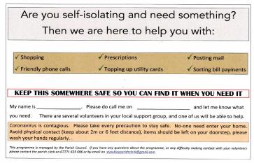 Covid 19 help leaflet